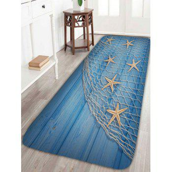 Wood Grain Fishing Net Starfish Bath Rug