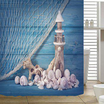 Nautical Lighthouse Conch Fishing Net Shower Curtain - LIGHT BLUE W79 INCH * L79 INCH