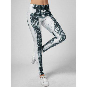 Skeleton Print High Waist Skinny Leggings