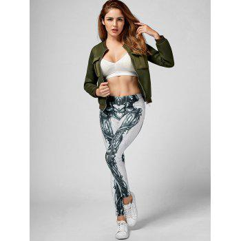 Skeleton Print High Waist Skinny Leggings - BLACK / WHITE XL