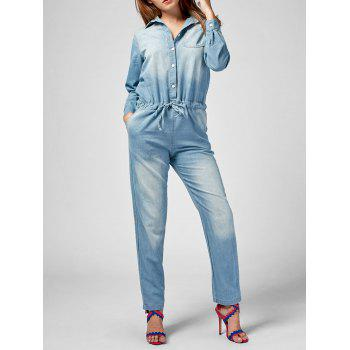 Long Sleeve Drawstring Denim Jumpsuit