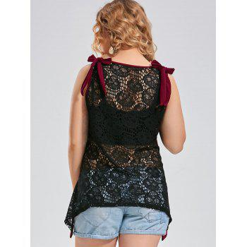 Plus Size Back Lace Crochet Asymmetric Sleeveless Top - WINE RED 2XL