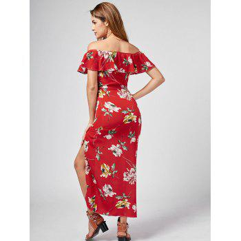 Off The Shoulder Split Floral Dress - RED M