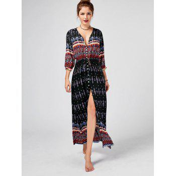 Tribal Print Button Down Split Bohemian Dress - BLACK 2XL