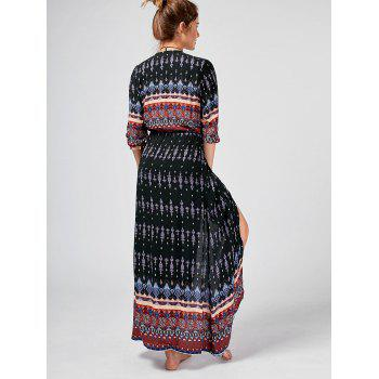 Tribal Print Button Down Split Bohemian Dress - Noir L