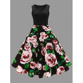 Plus Size Floral Printed Midi Vintage Flare Dress