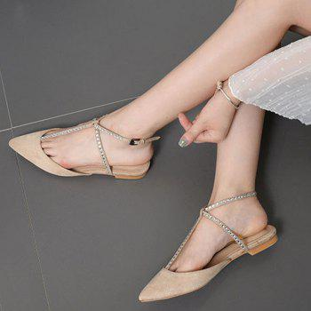 Suede Beaded Point Toe Flats - Abricot 39