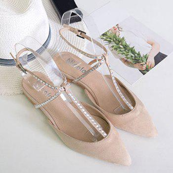 Suede Beaded Point Toe Flats