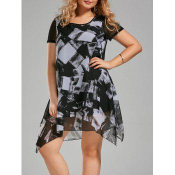 Plus Size Ink Painting Chiffon Asymmetric Swing Dress