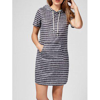 Hooded Striped Kangaroo Pocket Mini Dress