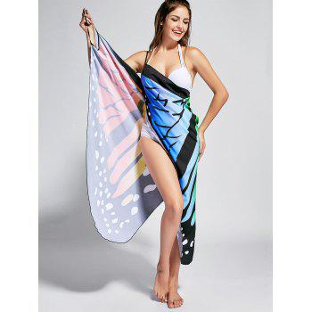 Butterfly Print Beach Wrap Cover Up Dress - COLORFUL XL