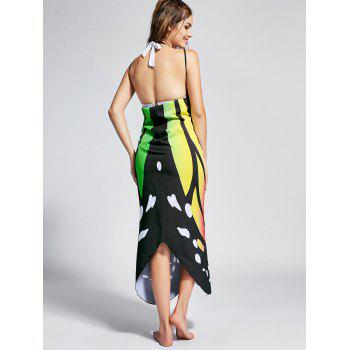 Butterfly Print Beach Wrap Cover Up Dress - COLORFUL COLORFUL