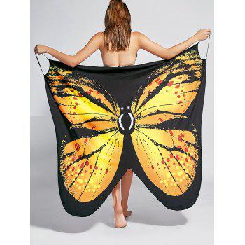 Butterfly Print Beach Wrap Cover Up Dress - YELLOW YELLOW
