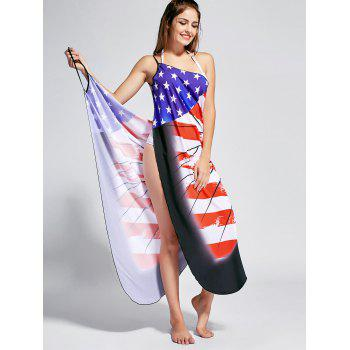Butterfly Print Beach Wrap Cover Up Dress - US FLAG L