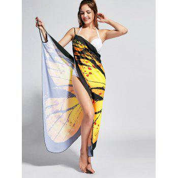 Butterfly Print Beach Wrap Cover Up Dress - YELLOW L