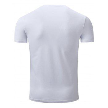 Slimming V Neck Short Sleeve T-Shirt - WHITE 2XL