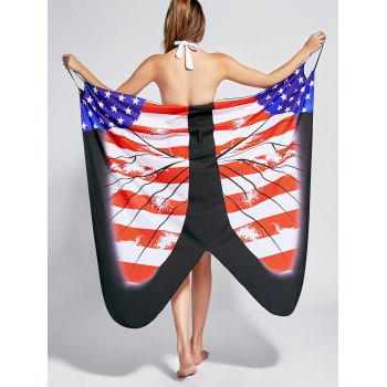 Butterfly Print Beach Wrap Cover Up Dress - US FLAG M