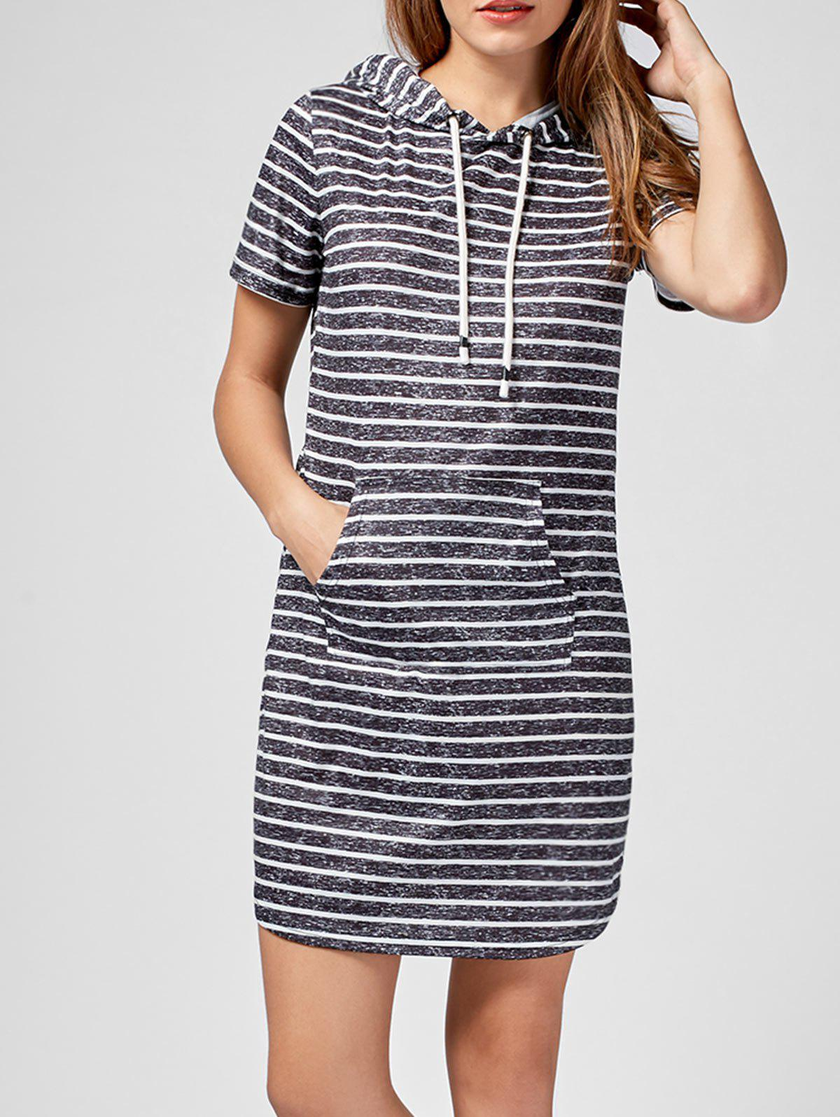 Hooded Striped Kangaroo Pocket Mini Dress - BLACK STRIPE 2XL