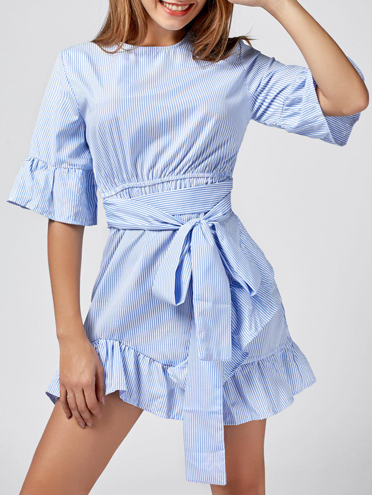 Stripe Ruffle Trim Mini Dress - Bleu XL