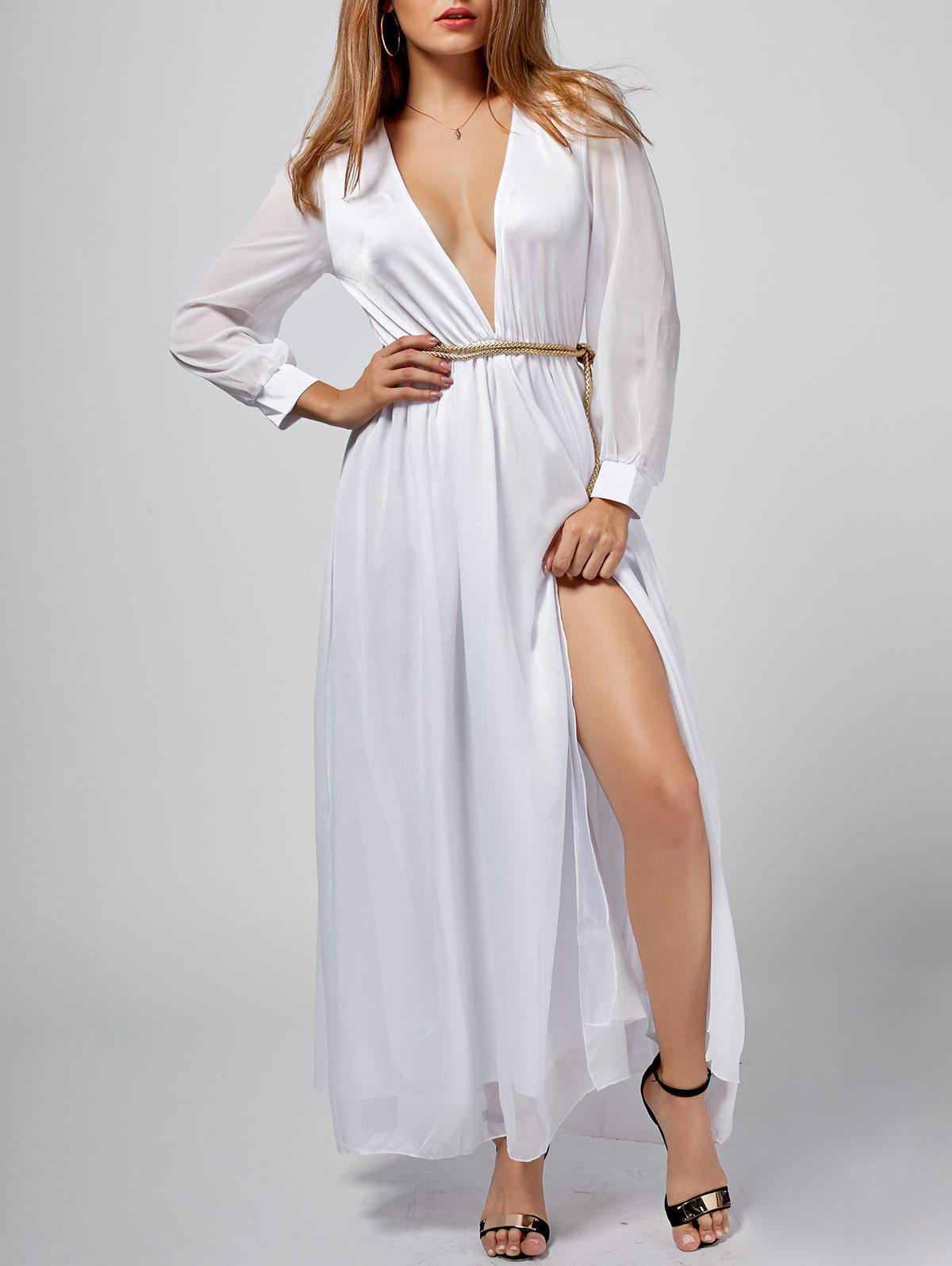 V-Neck Long Sleeve Off-The-Breast Dress - WHITE M