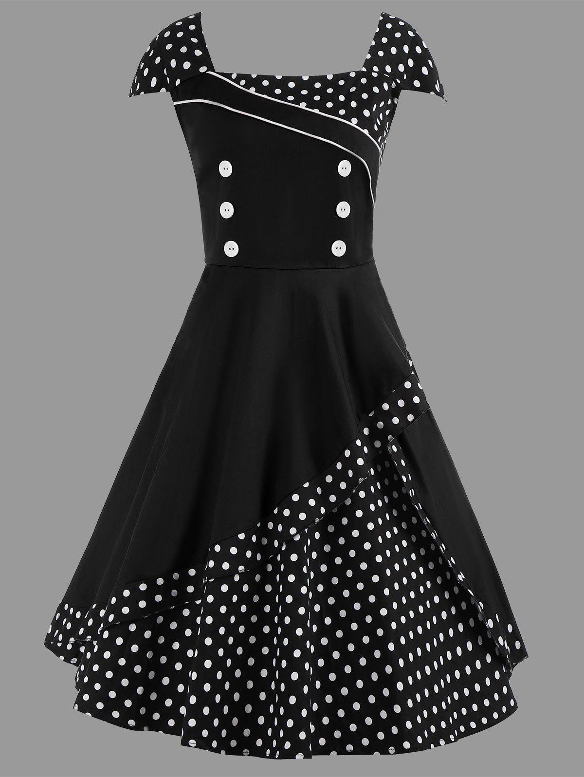 A Line Polka Dot Plus Size Vintage Dress - BLACK 3XL
