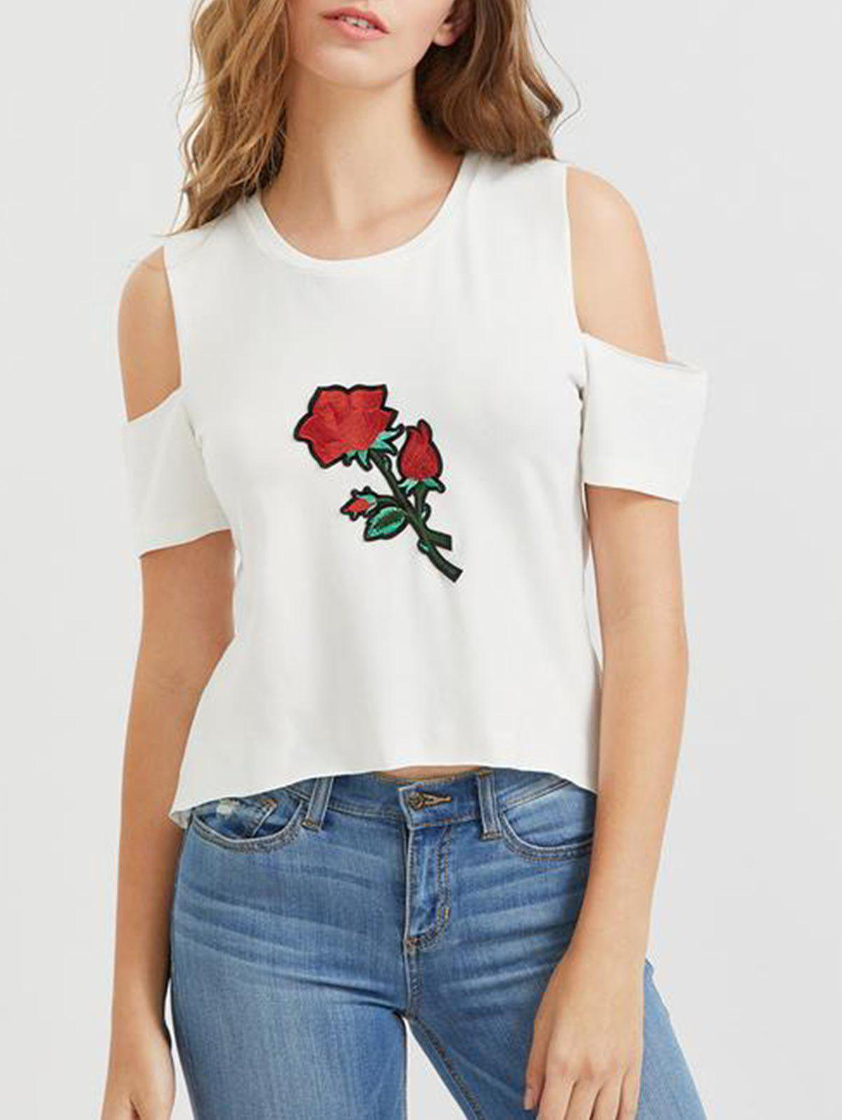 Flower Embroidered Cold Shoulder T-Shirt - WHITE M