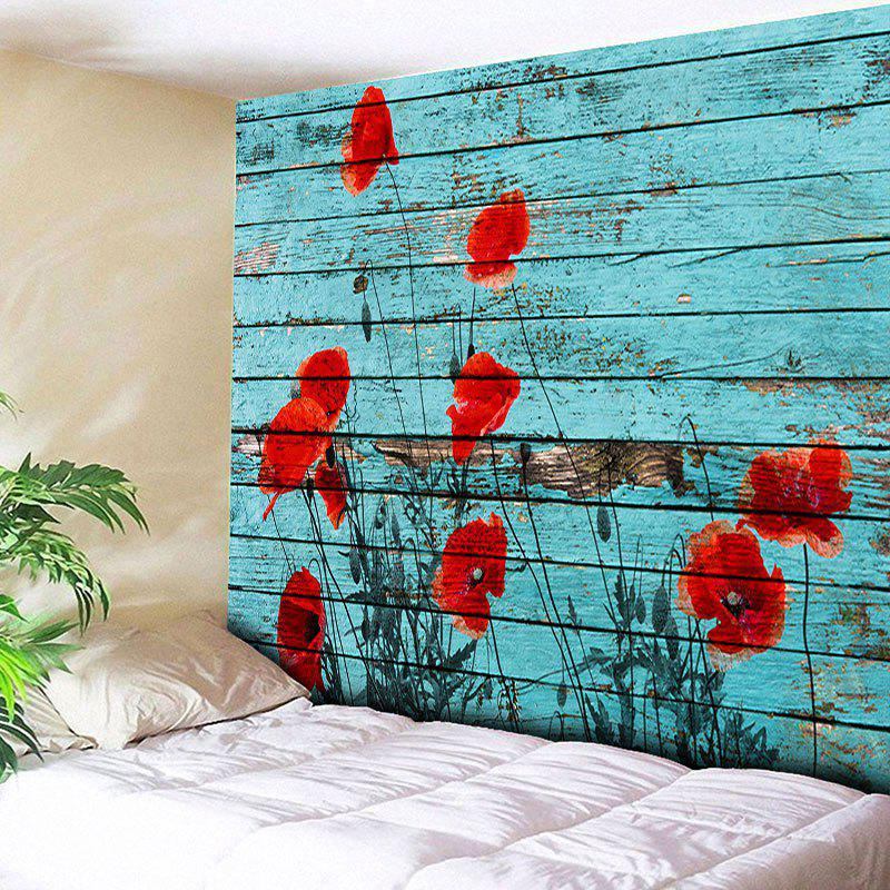 Wall Hanging Wood Grain Floral Print Tapestry - BLUE W51 INCH * L59 INCH