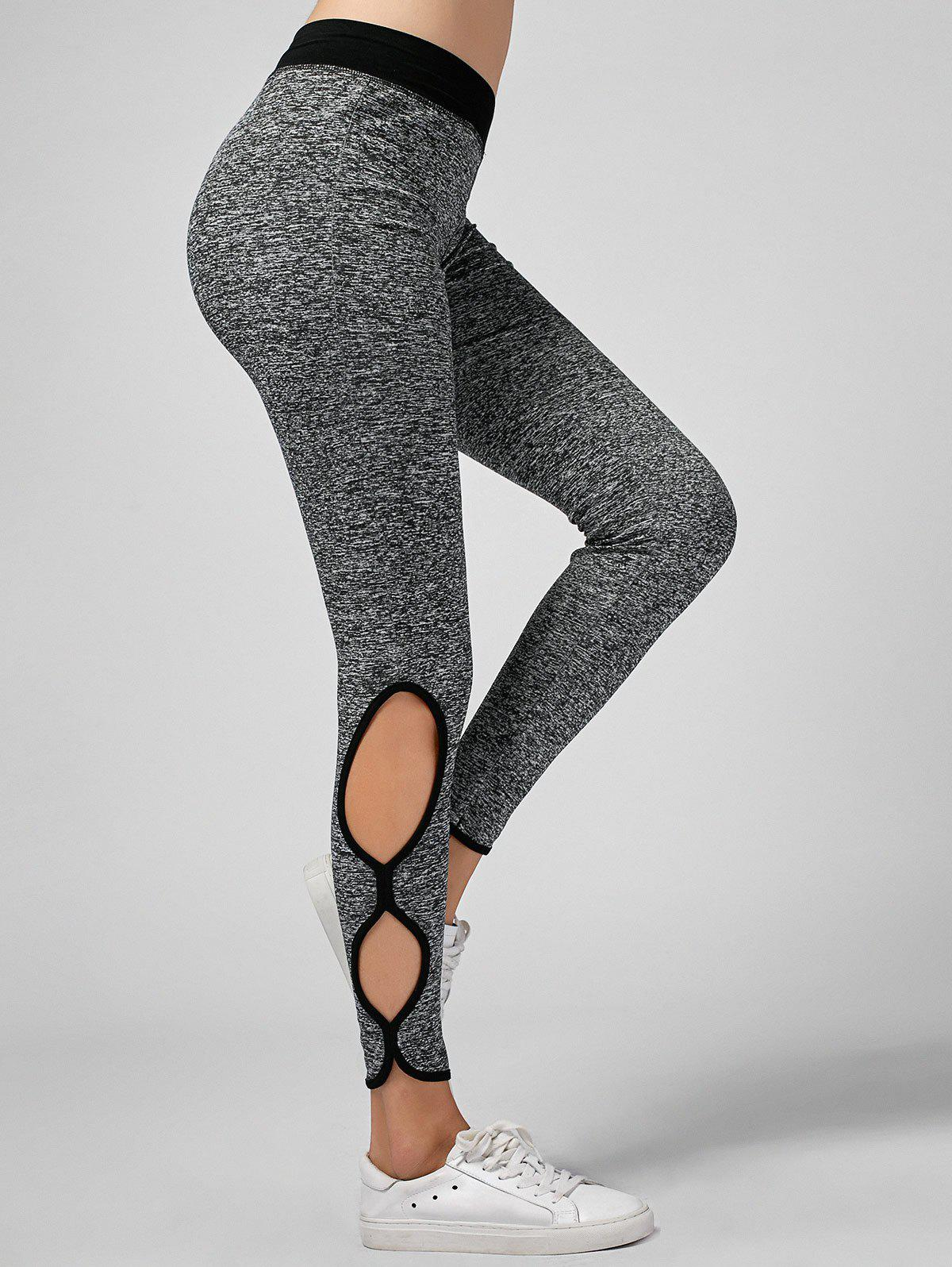 Cut Out Spaced Dyed Leggings - GRAY M