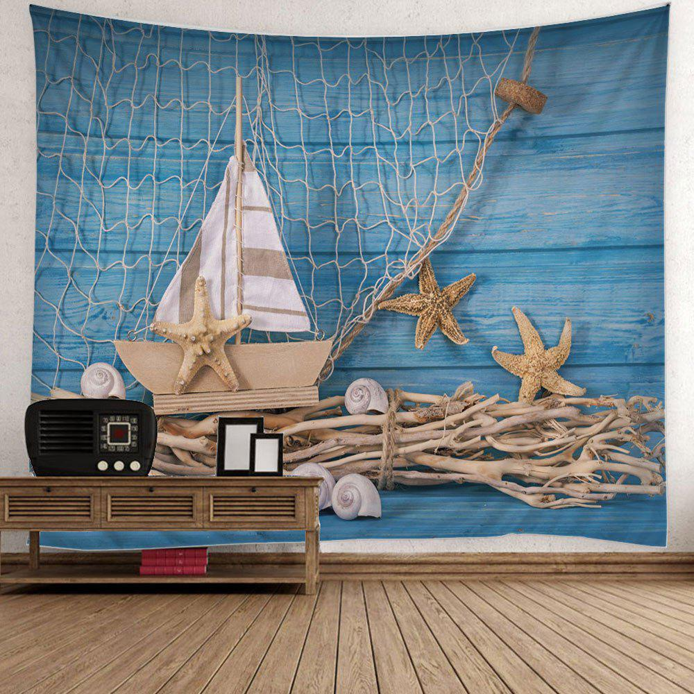 Wall Hanging Fishing Net Boat Starfish Print Tapestry - LIGHT BLUE W51 INCH * L59 INCH
