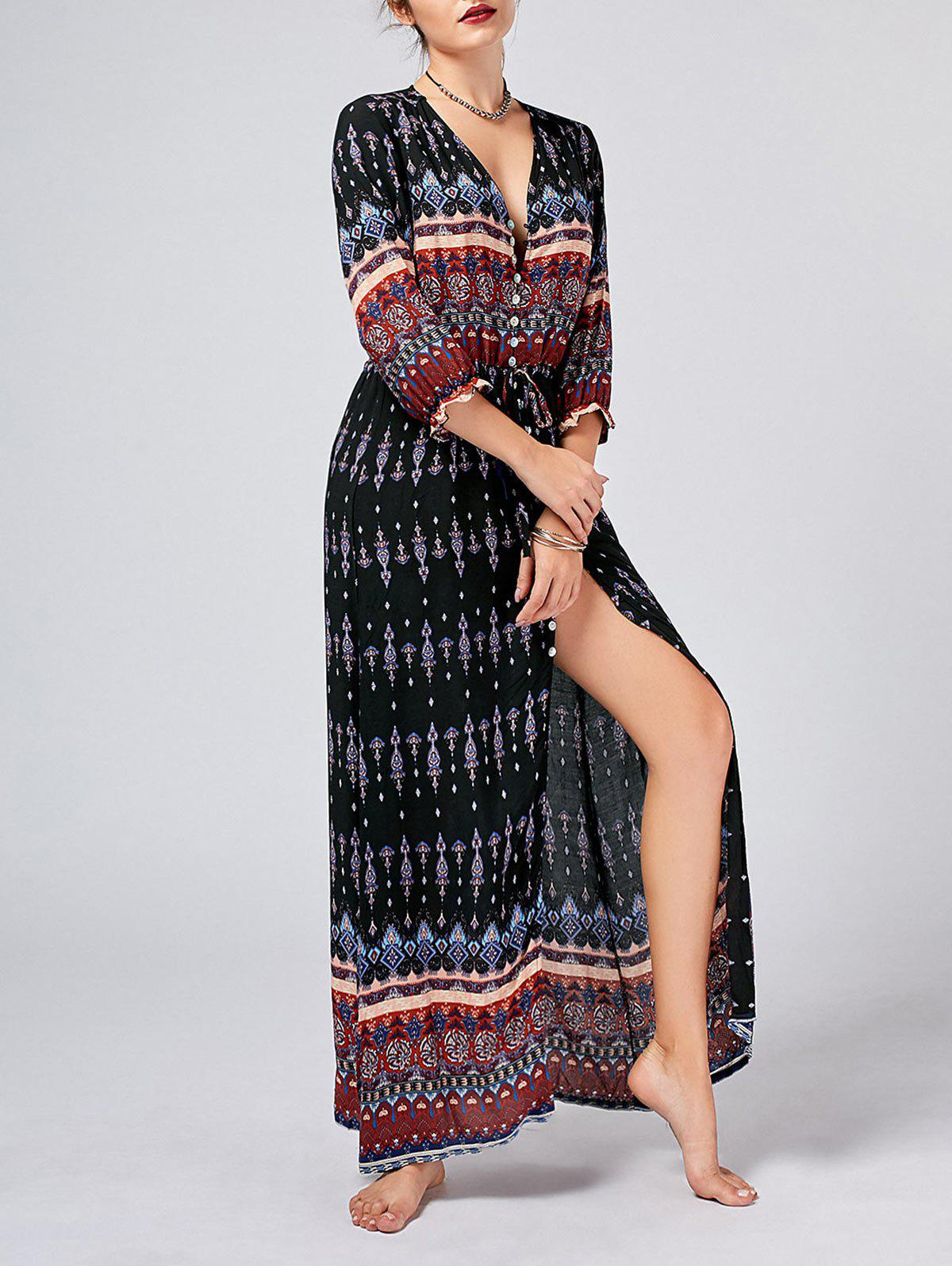 Tribal Print Button Down Split Bohemian Dress - Noir M