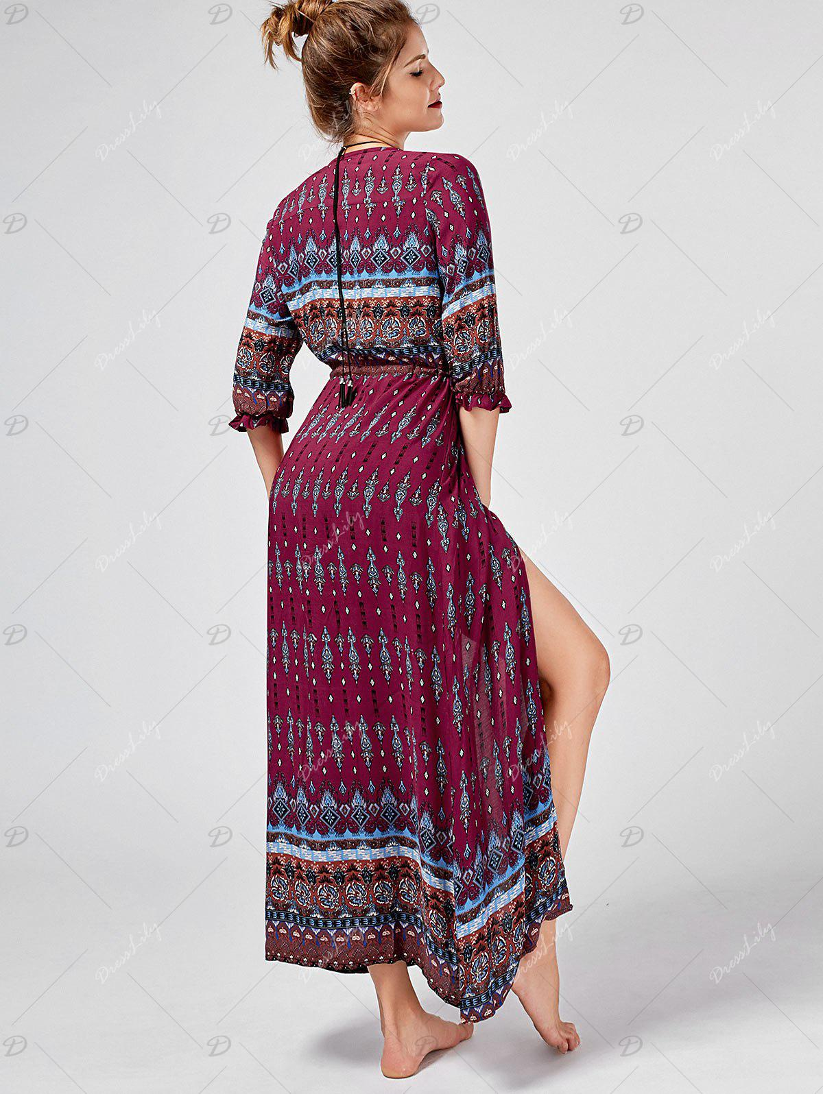 Tribal Print Button Down Split Bohemian Dress - WINE RED XL