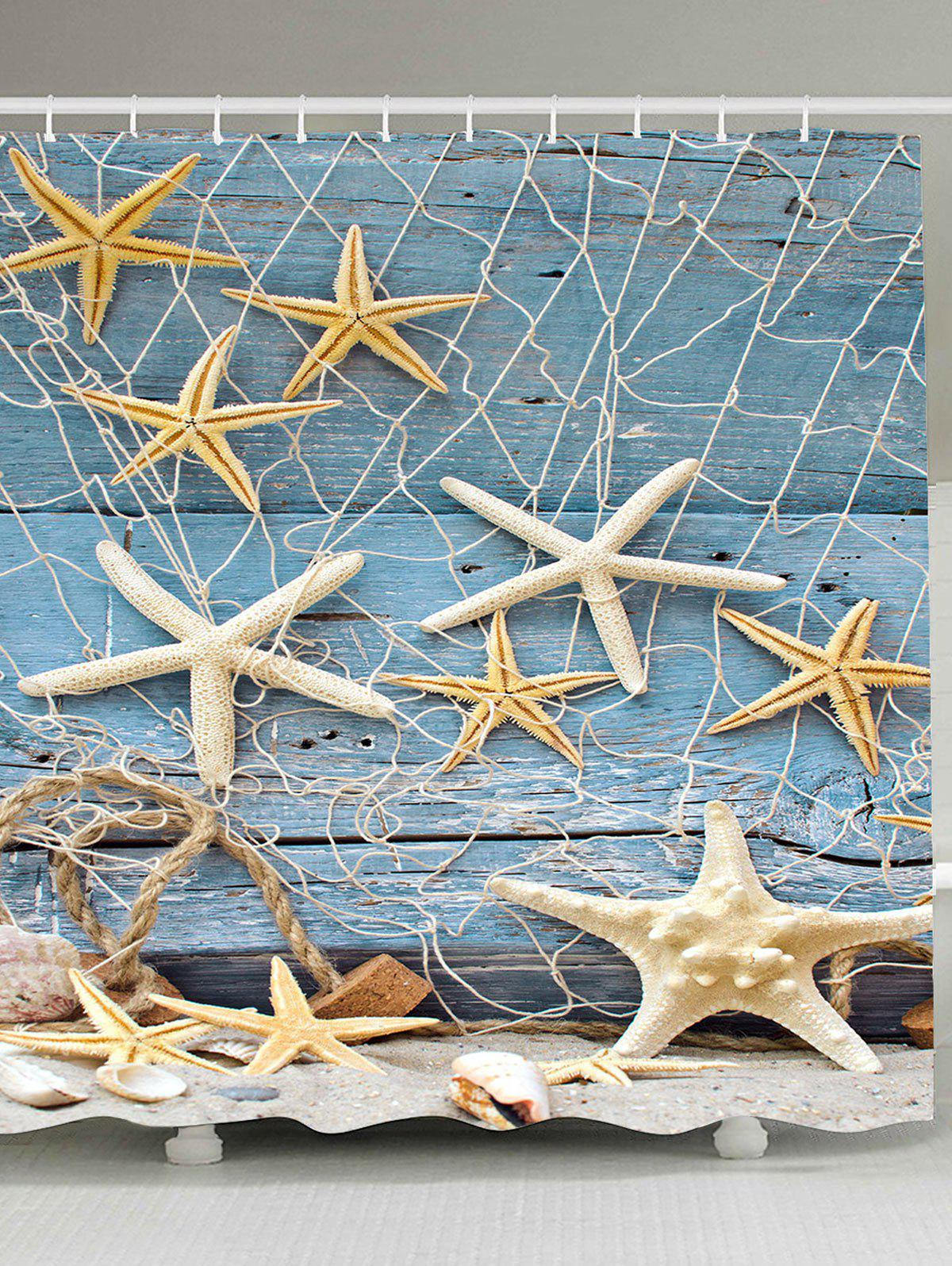 2018 fishing net starfish wood grain nautical shower. Black Bedroom Furniture Sets. Home Design Ideas