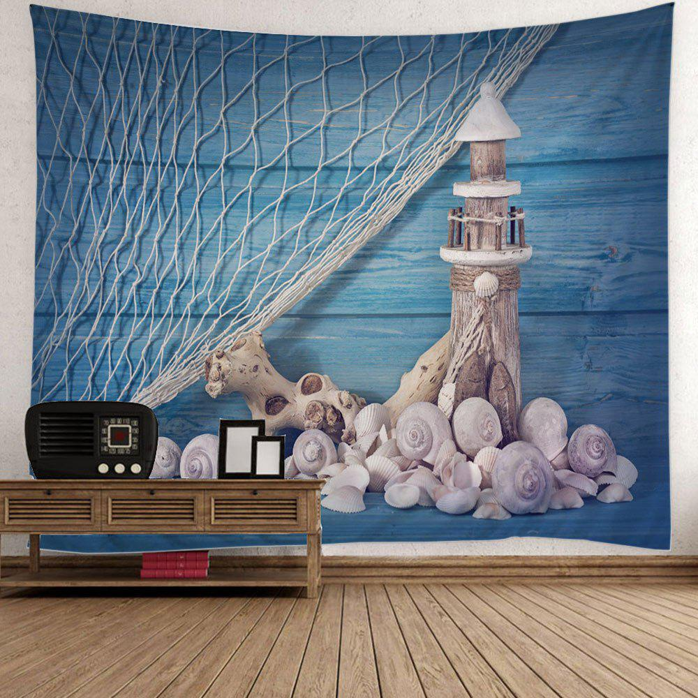 Fishing Net Conch Lighthouse Print Wall Tapestry - BLUE W59 INCH * L79 INCH
