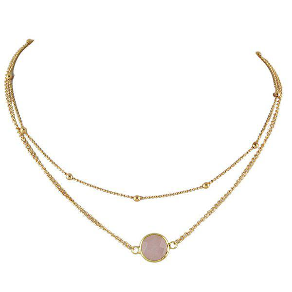Layered Faux Gemstone Round Necklace - PINK