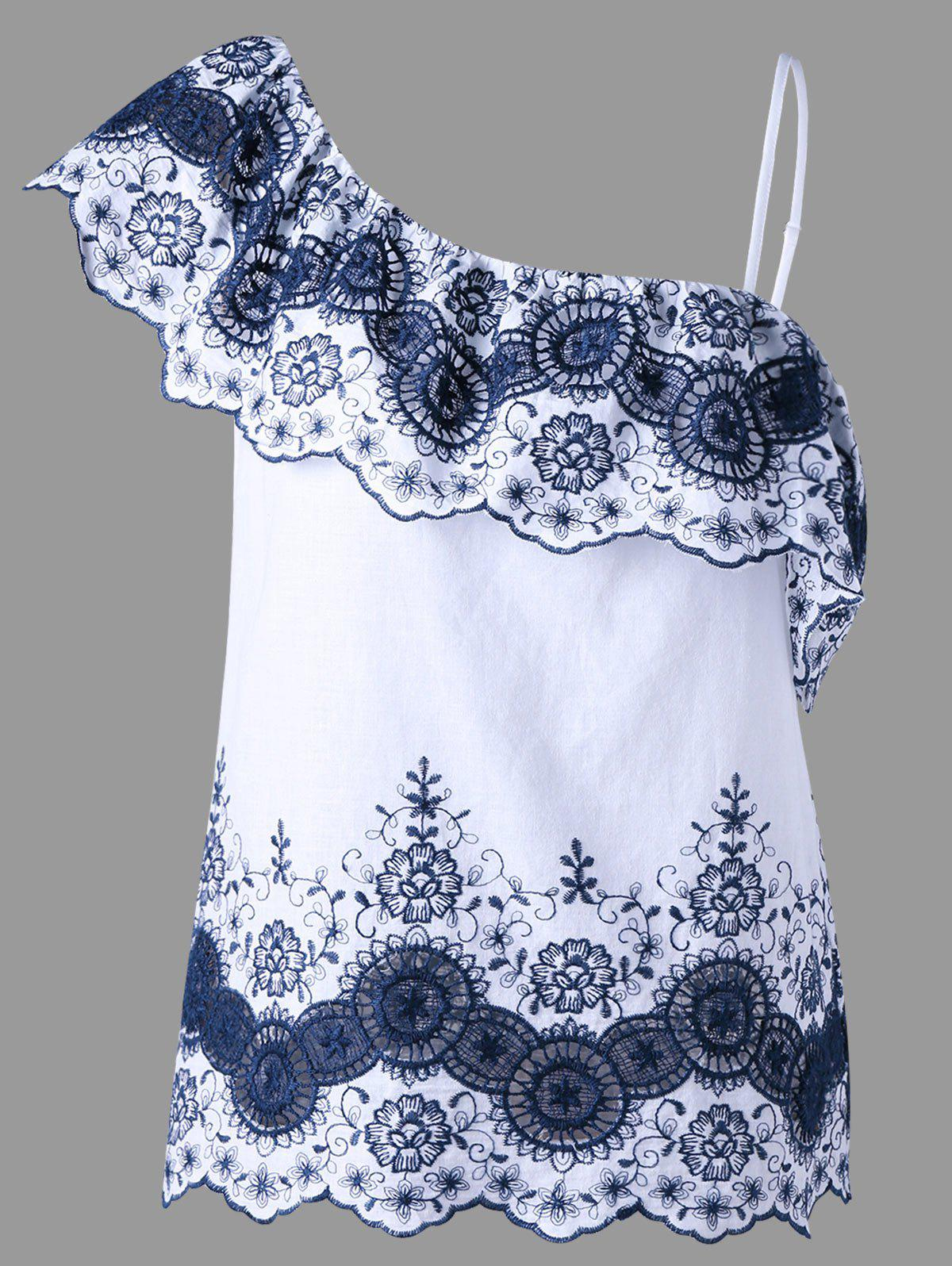 Asymmetric Embroidered Top - BLUE/WHITE XL