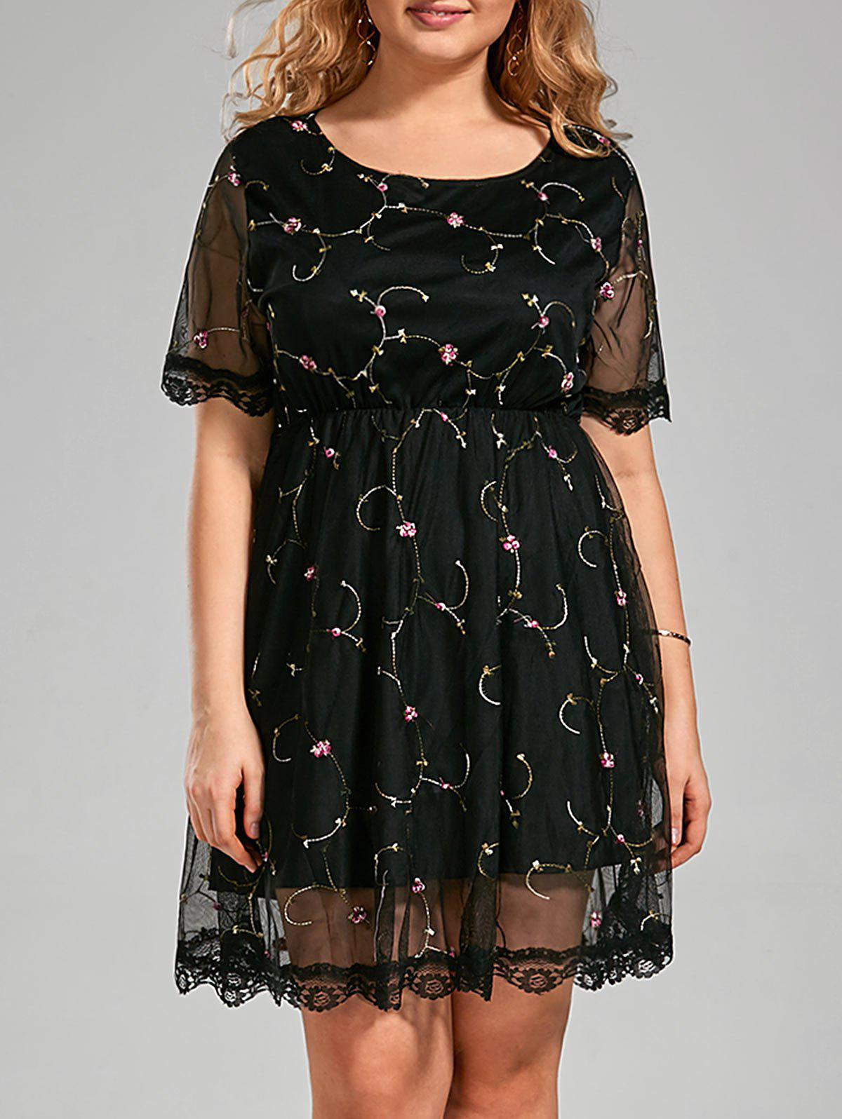 2018 Plus Size Embroidered Semi Sheer Dress with Lace Trim BLACK ...