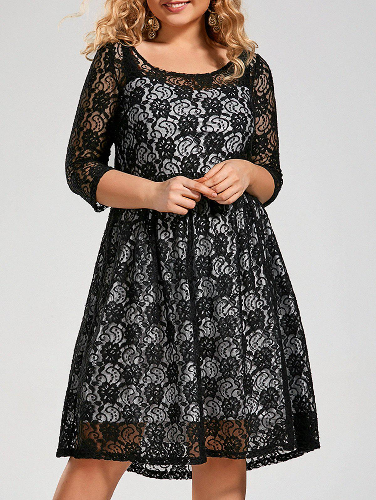 Plus Size Semi Sheer Lace Dress with Sleeves - BLACK 6XL