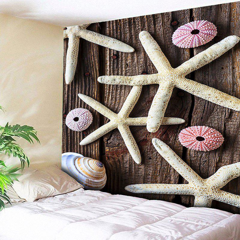 Wall Hanging Starfish Wood Grain Printed Tapestry - WOOD COLOR W59 INCH * L79 INCH