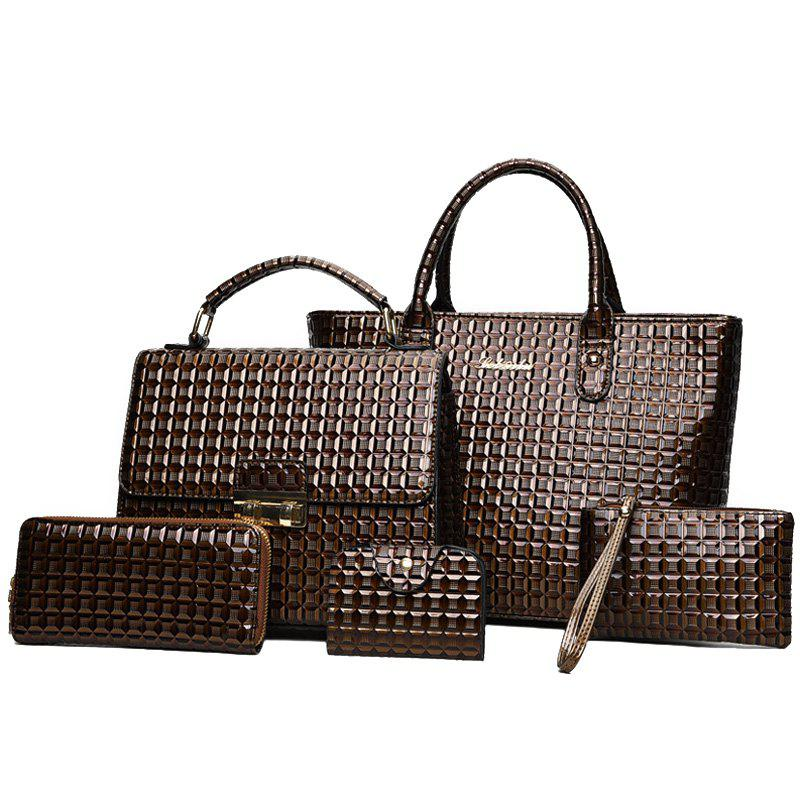5 Pieces Geometrci Print Handbag Set - BROWN