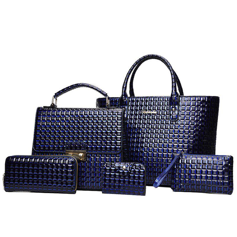 5 Pieces Geometrci Print Handbag Set - BLUE