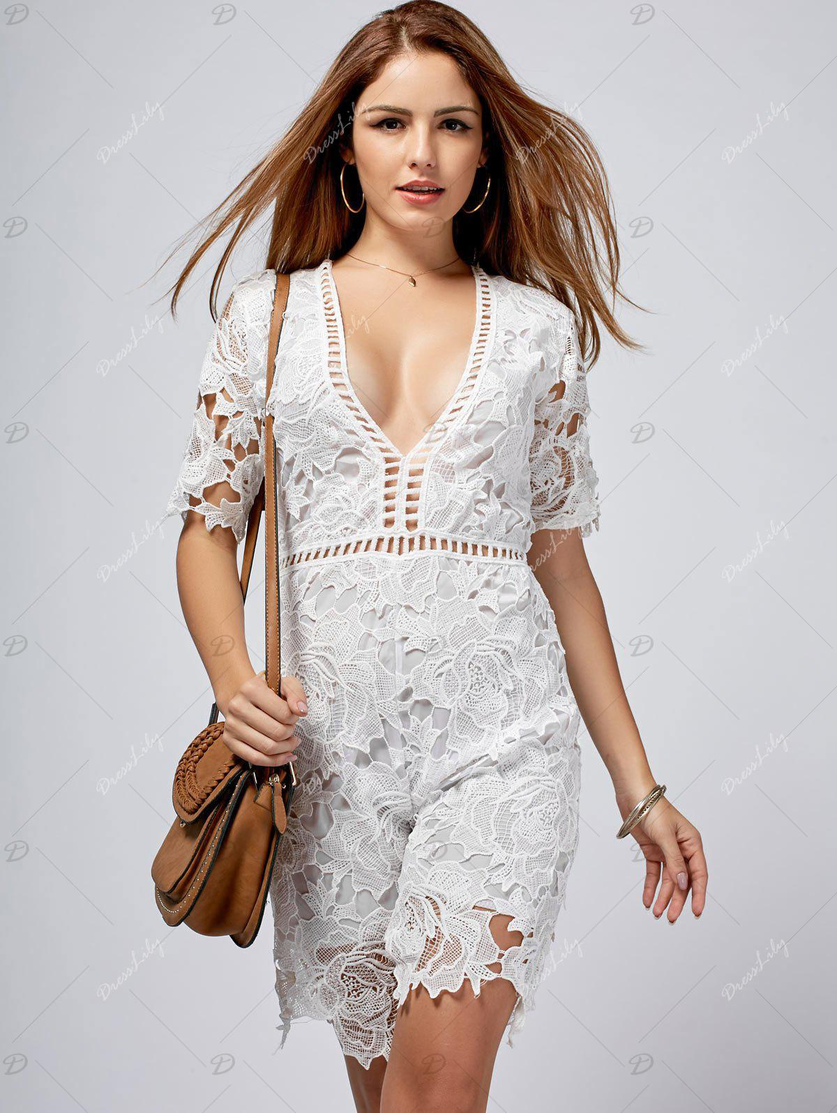 Crochet Plunging Neck Cut Out Romper - WHITE L