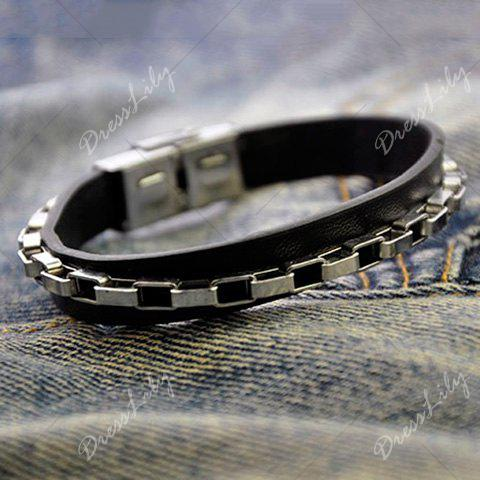 Link Chain Fake Leather Bracelet - SILVER
