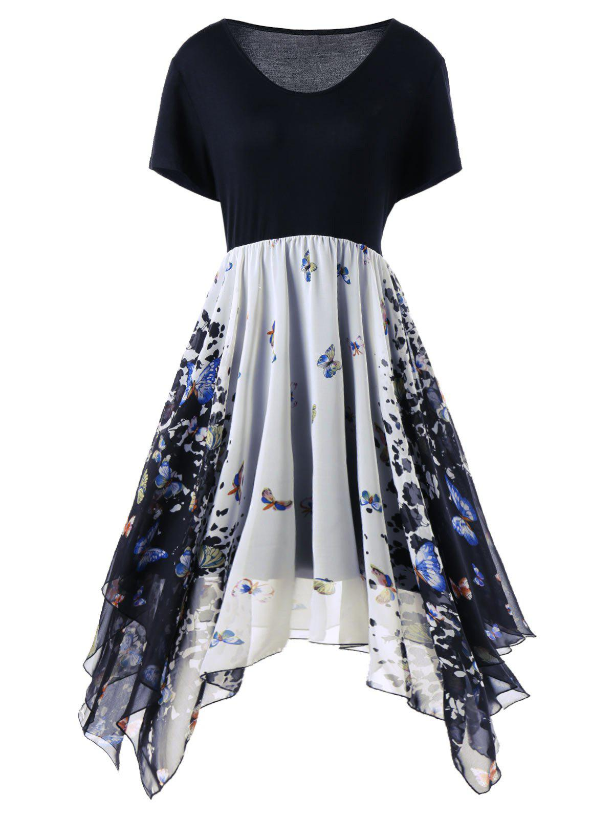 2018 plus size butterfly print handkerchief dress colormix xl in
