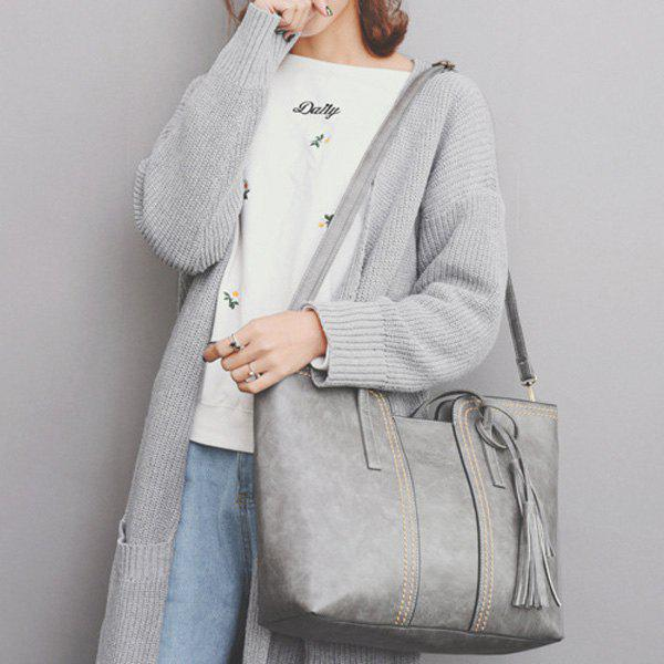 Tassel Contrast Stitching Shoulder Bag - GRAY