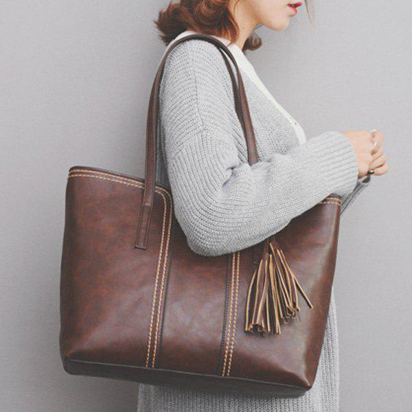 Tassel Contrast Stitching Shoulder Bag - BROWN