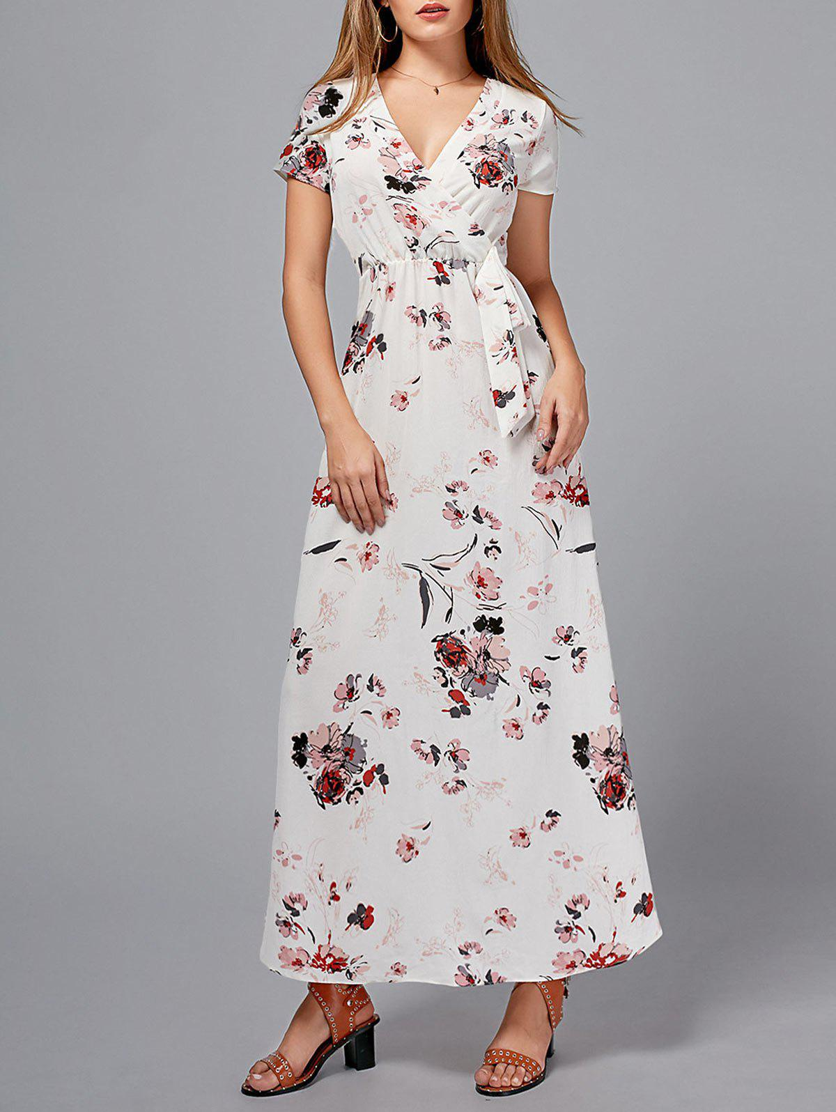 V Neck Bowknot Floral Maxi Dress - FLORAL XL