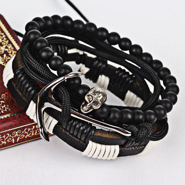 Faux Leather Anchor Beaded Skull Bracelet Set dull polished mixed beaded bracelet
