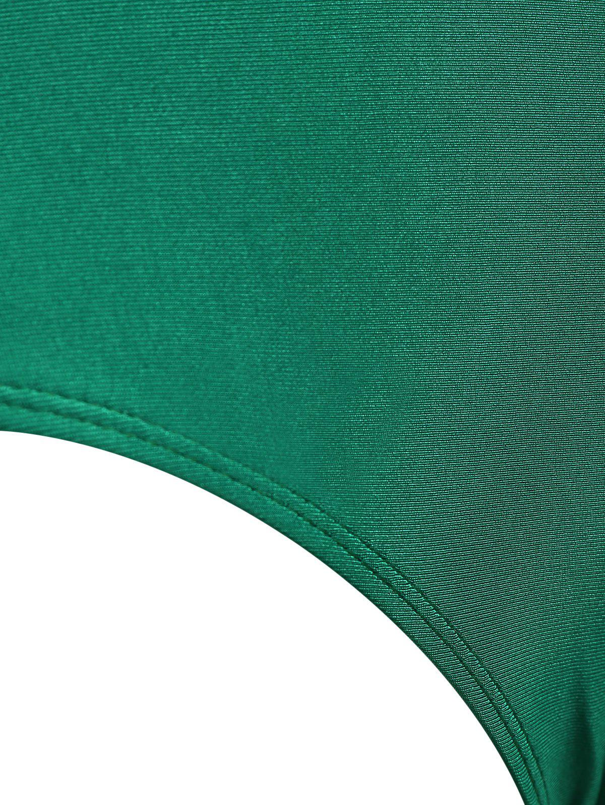 Embroidered Backless Plus Size Swimsuit - GREEN 3XL
