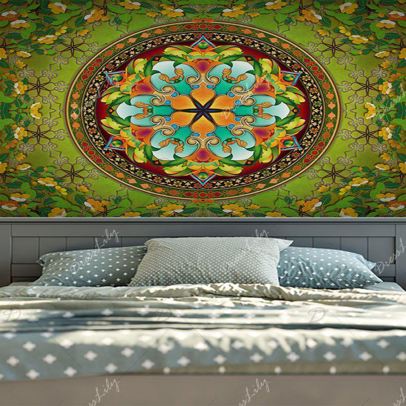 Flower Wall Hanging Mandala Print Home Tapestry - GREEN W59 INCH * L79 INCH