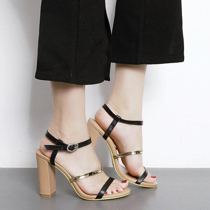 Chunky Heeled Strappy Sandals chunky heeled loafers